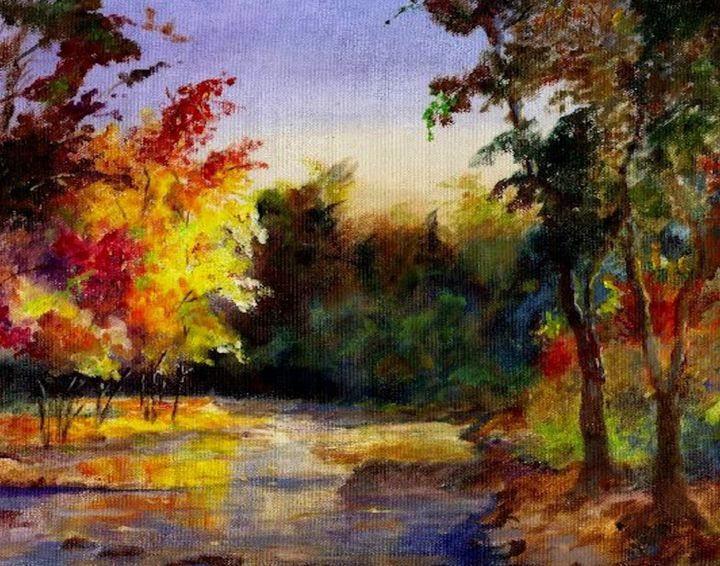 """Painting titled """"Fall River"""" by Willis Moore, Original Art, Oil"""