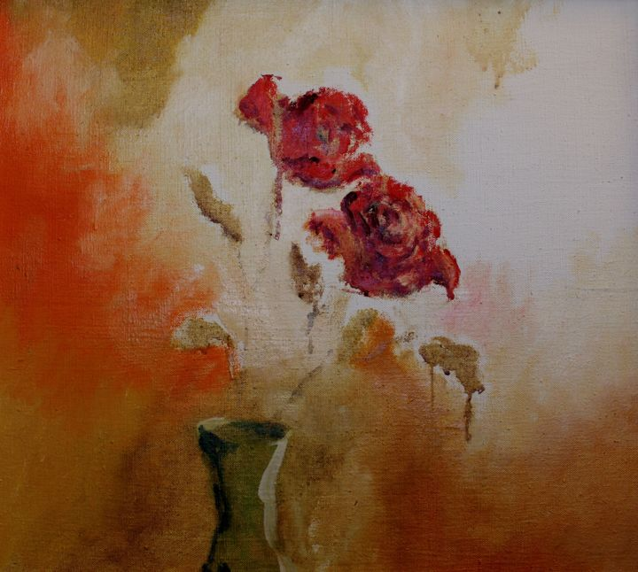 """Painting titled """"Roses"""" by Willis Moore, Original Art, Oil"""