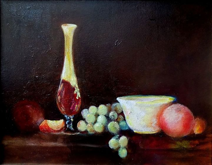"""Painting titled """"Red Vase"""" by Willis Moore, Original Art, Oil"""