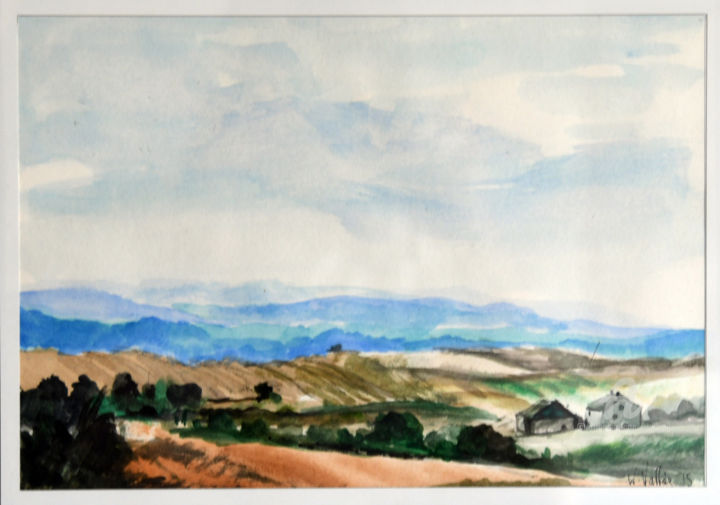 Pologne2 - Painting ©2016 by William Vallée -                                                                        Classicism, Paper, Places, Landscape, Aquarelle; Pologne; Paysages
