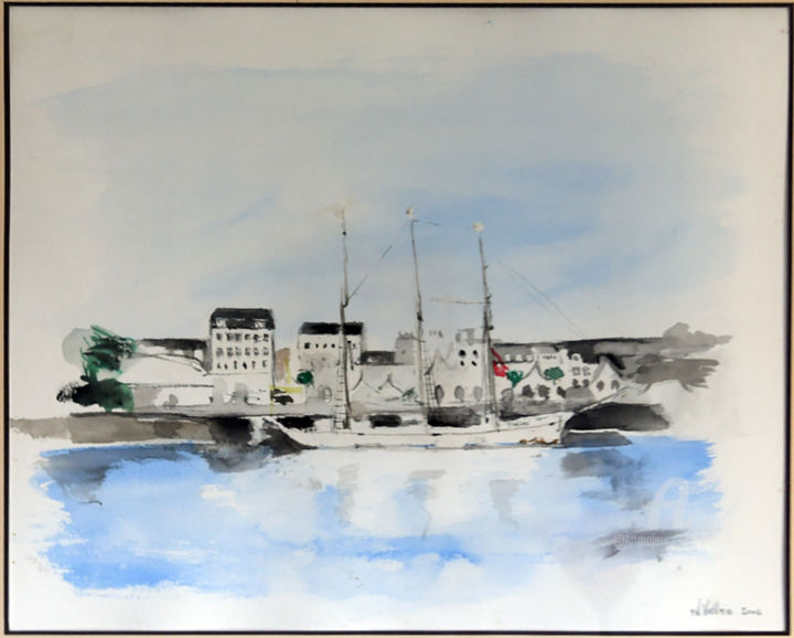 Cherbourg2 - © 2005 Aquarelle; Voilier au port; Cherbourg Online Artworks