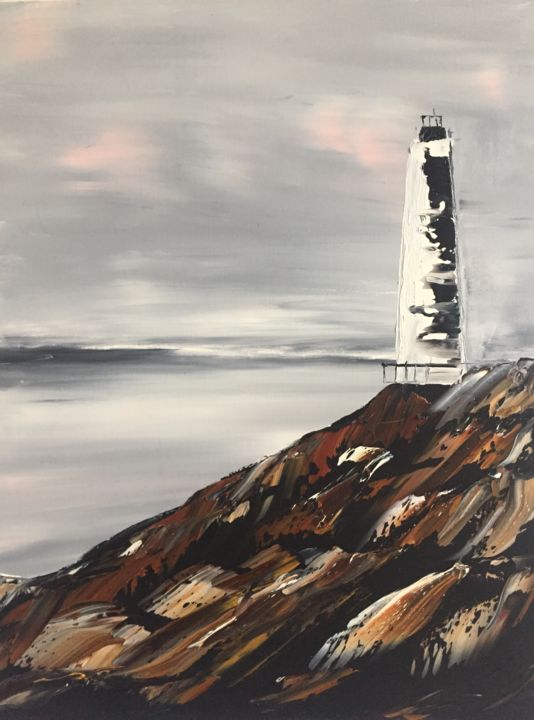 """Painting titled """"Phare de la Côtes"""" by Willy Gerard, Original Art, Oil"""