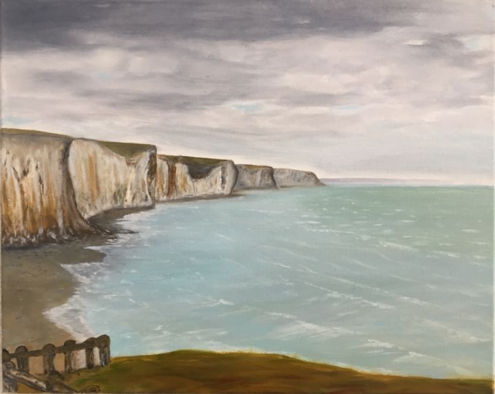 """Painting titled """"Les falaises d'Ault"""" by Willy Gerard, Original Art, Oil"""