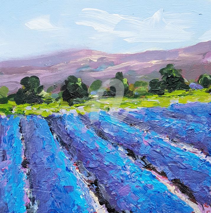The colors of the lavenderfields in the Provence 2 - © 2019 france, provence, provence painting, provence landscapes, provence lavender, provence lavender fields, lavender painting, lavender fields painting, wimvandewege, plein air Online Artworks