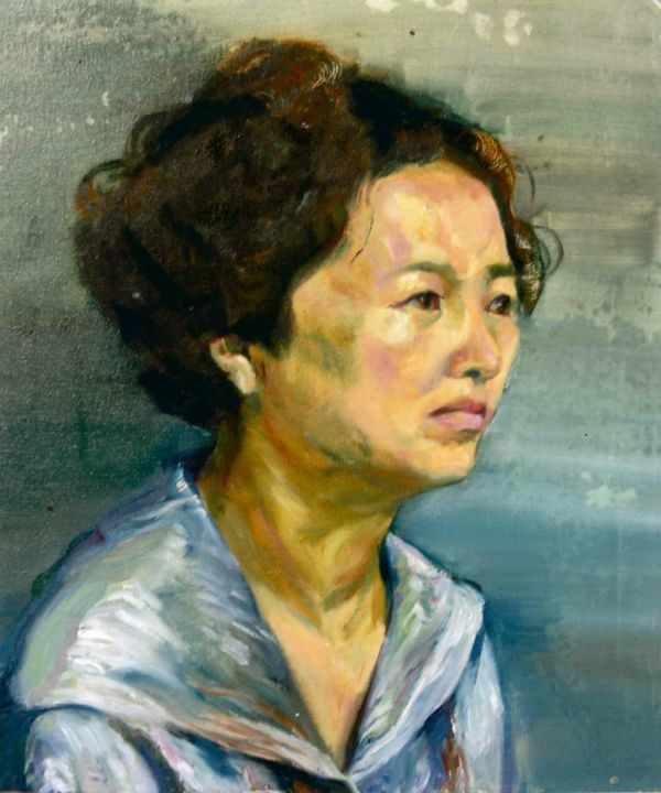 Portrait de chinoise  油画 - Painting, ©2018 by Rubis Xu -                                                                                                                                                                                                                                                                                                                                                                                                          Expressionism, expressionism-591, Portraits, pochade, expressionnisme, chinoise, portrait, 中国