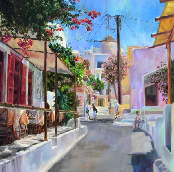 Mykonos, Greece (oil painting) Painting by Winters | Artmajeur