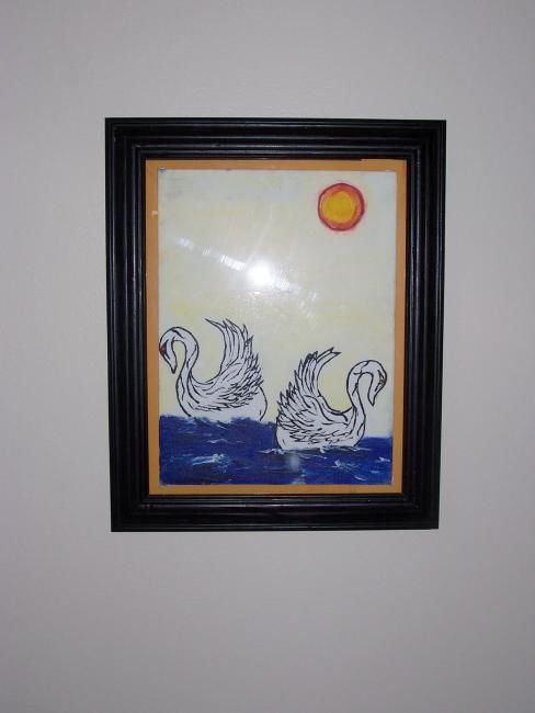 """Painting titled """"Two swans"""" by Raymona Glidden, Original Art,"""