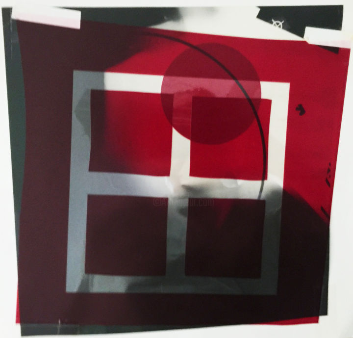ruby window (film collage) - © 2020 abstract, window, rubylith, film collage, unique collage, black and white, red, geometric, graphic design, gelatin, photography, modern, minimal, minimalism, minimalist, collage Online Artworks