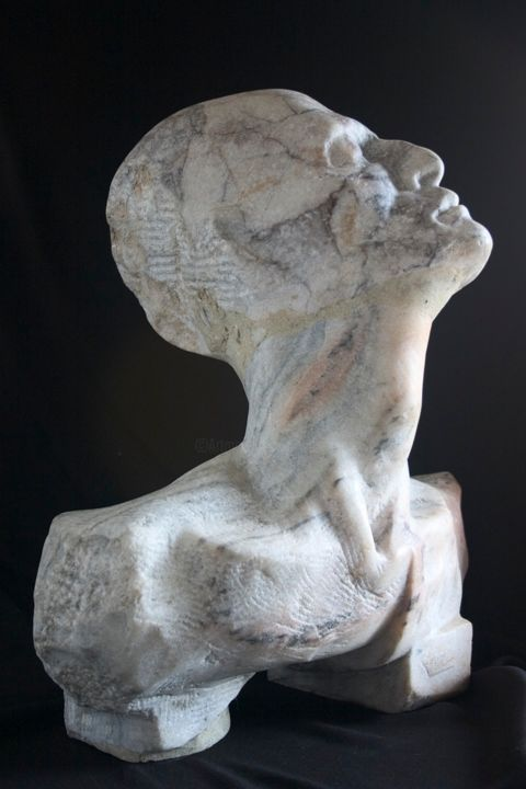 Father - Sculpture,  16.1x16.5x7.1 in, ©1980 by Wojciech Pietranik -                                                                                                                                                                                                                                                                                                                                                                                                                                                                                                                                                                                          Figurative, figurative-594, Men, Marble, stone, white, people, Wojciech Pietranik, contemporary sculpture, modern arts, stone sculpture, marble sculpture