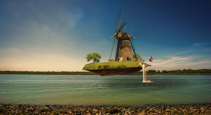 The wind boat - Photography,  40x60x2 cm ©2018 by Xavier WTTRWULGHE -                                                                                                                                                                                    Art Nouveau, Illustration, Modernism, Realism, Surrealism, Other, Architecture, Aerial, Boat, Sailboat, Colors, Fantasy, Ships, vent, wind, boat, sailing, pays-bas, hollande, Amsterdam, canaux, navigation, moulin à vent, molen