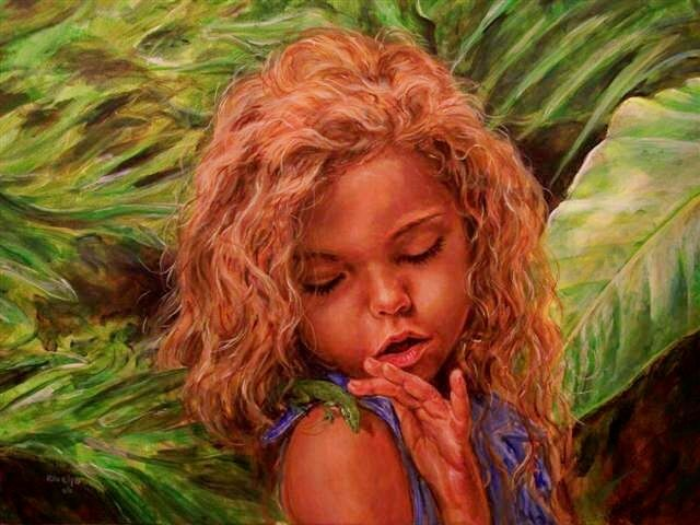 here there be dragons - Malerei,  16x20 in, ©2006 von Ralph Rivello -                                                                                                                                                                          Figurative, figurative-594, portrait children lizards