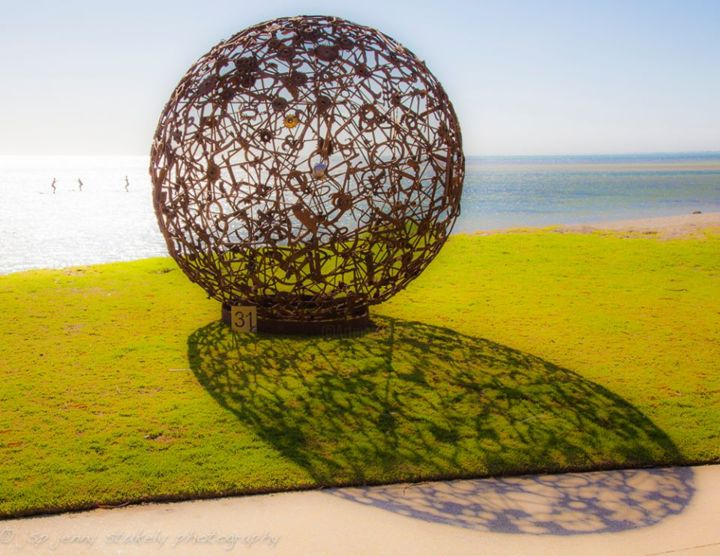 Industrial Planet - Sculpture,  2.3x2.3 m ©2015 by Justin Webb -                                                                                                                                                                                    Environmental Art, Abstract Expressionism, Conceptual Art, Metal, Aluminum, Glass, Other, Stainless Steel, Time, Abstract Art, Beach, History, Mortality, metal, sculpture, recycled, australia, artifacts, antique, sphere, ball, planet