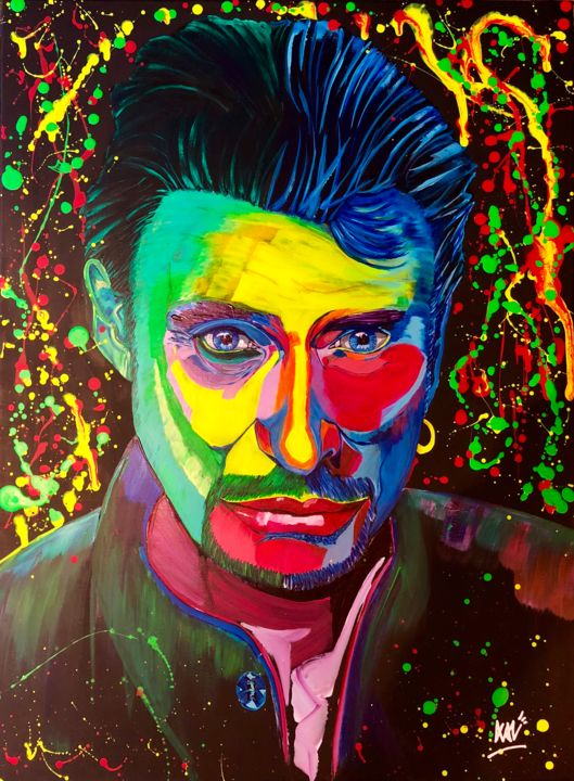 Allumer le Feu! - ©  Johnny, Hallyday, Johnny Hallyday, chanteur, singer, pop expressionnisme, xale, bleu, blue, green, vert, violet, pink, rose, jaune, yellow, rainbow, allumer le feu, pop art Online Artworks