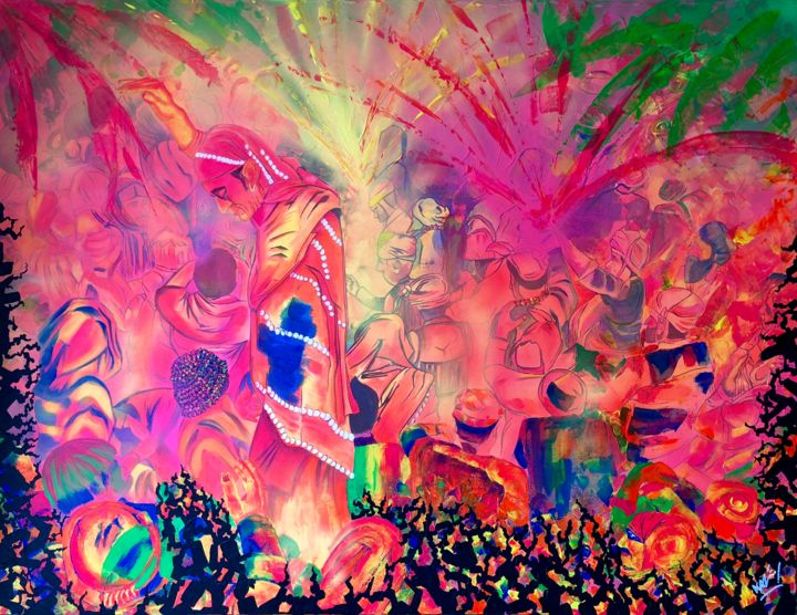 Powdery Holi - Painting,  89x116x3 cm ©2018 by Xavier LEMAIRE -                                                                                                                                                                                                                                                            Figurative Art, Expressionism, Impressionism, Contemporary painting, Pop Art, Folk, Street Art (Urban Art), Canvas, Outer Space, Colors, Culture, Pop Culture / celebrity, World Culture, Nature, People, Religion, Seasons, Spirituality, Travel, holi, holi time, colors, pink, yellow, blue, jaune, bleu, rose, violet, fluo, inde, india, orange