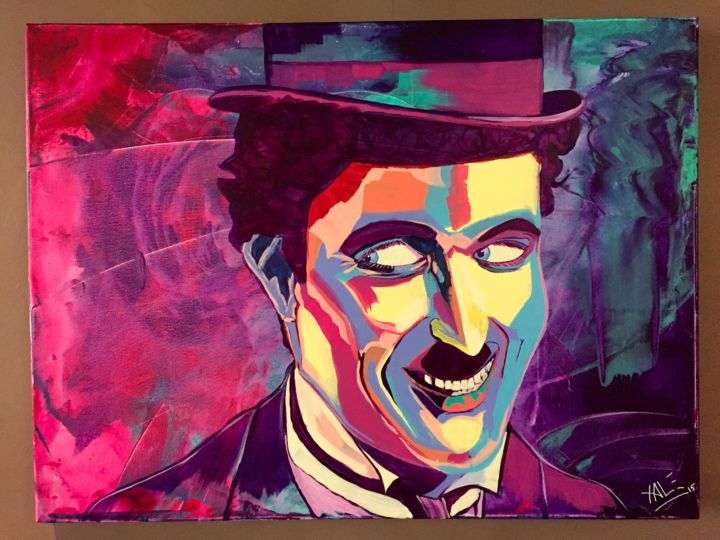 Charlie Chaplin - Painting,  23.6x31.5 in, ©2015 by Xale -                                                                                                                                                                                                                                                                                                                                                                                                                                                                                                                                                                                                                                                                                                                                                                                                                                                                                                              Expressionism, expressionism-591, Cinema, Colors, Pop Culture / celebrity, Celebrity, Portraits, Charlie Chaplin, Charlot, colors, violet, blue, bleu, rose, pink, cinema, celebrities, couleurs, pop art