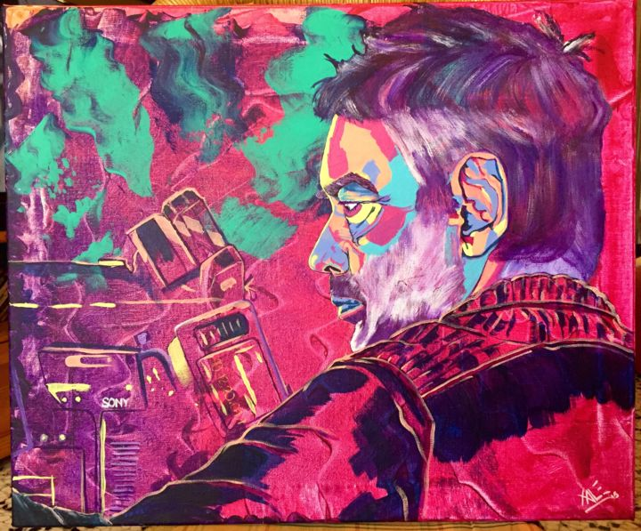 Le réalisateur Luc Besson / French director Luc Besson - Painting,  18.1x21.7 in, ©2015 by Xale -                                                                                                                                                                                                                                                                                                                                                                                                                                                                                                                                                                                                                                                                                                                                                                                                                                                                  Expressionism, expressionism-591, Cinema, Colors, Pop Culture / celebrity, Celebrity, Portraits, director, réalisateur, film, couleurs, colors, violet, vert, green, pink, rose, luc besson