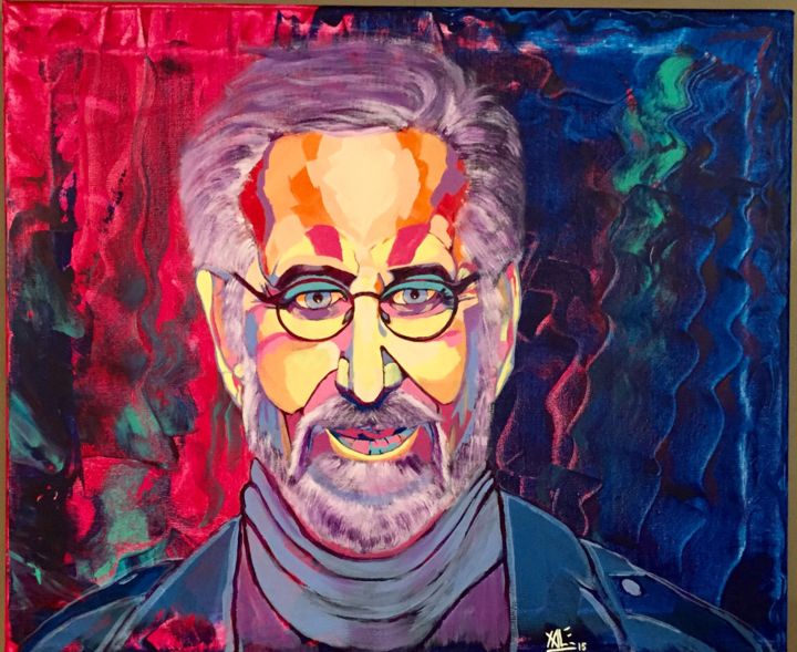"Série ""Rainbow"" : Steven Spielberg / ""Rainbow"" Série ´s : Steven Spielberg - Painting,  48x55 cm ©2015 by Xavier LEMAIRE -                                                                                                                                    Expressionism, Pop Art, Folk, Street Art (Urban Art), Canvas, Cinema, Pop Culture / celebrity, Celebrity, Portraits, steven spielberg, colors, couleurs, starwars, e.t, realisateur"