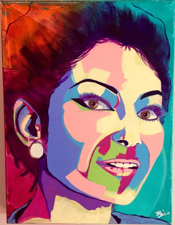 "Série ""Rainbow"" / ""Rainbow"" serie ´s : Maria Callas. - Painting,  40x30 cm ©2015 by Xale -                                                                                                                                    Expressionism, Impressionism, Pop Art, Folk, Canvas, Performing Arts, Colors, Pop Culture / celebrity, Celebrity, colors, maria callas, opera, cantatrice"