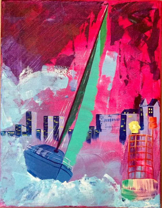 Tempête nocturne / Night Storm - Painting,  13.8x10.6 in, ©2015 by Xale -                                                                                                                                                                                                                                                                                                                                                                                                                                                                                                                                                                                                                                                                                                                                                                                                                      Expressionism, expressionism-591, Boat, Sailboat, Colors, tempête, colors, storm, ship, violet, mer, ocean, sea, eau, water, couteaux, knives
