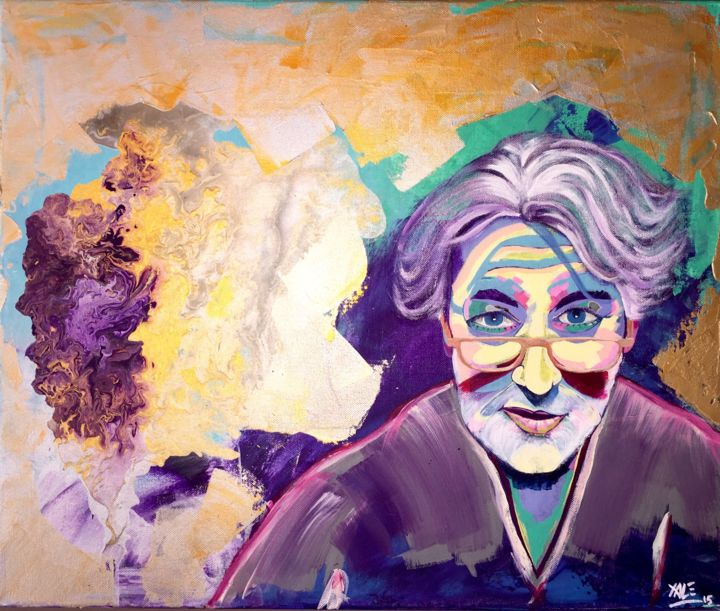 Andrea Zac - Painting,  18.1x21.7 in, ©2015 by Xale -                                                                                                                                                                                                                                                                                                                                                                                                                                                      Expressionism, expressionism-591, Colors, Pop Culture / celebrity, andrea zac, colors, or, argent, gold