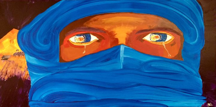 Désastre à Palmyre / Disaster in Palmyra - Painting,  50x100x5 cm ©2016 by Xale -                                                                                                                                    Expressionism, Impressionism, Contemporary painting, Pop Art, Canvas, Colors, Culture, World Culture, Politics, Palmyre, bedouins, regard, desert, politique, islam, daesh, massacres, culture, liberté, laïcité