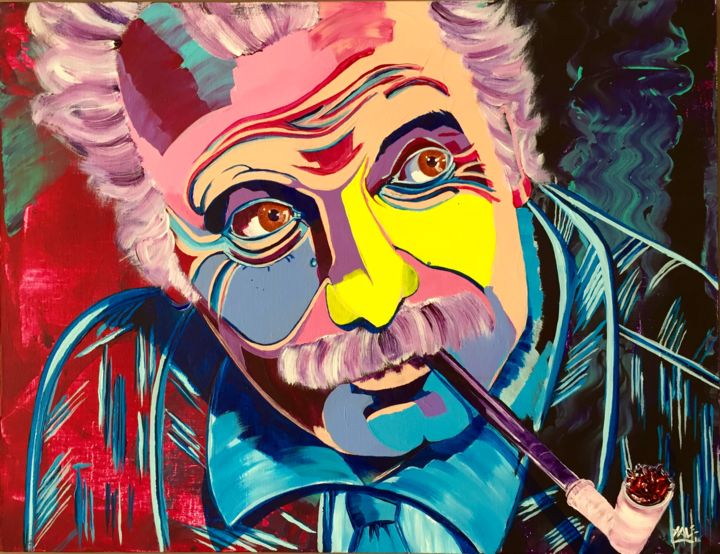 Brassens - Painting,  19.7x25.6x0.8 in, ©2016 by Xale -                                                                                                                                                                                                                                                                                                                                                                                                          Expressionism, expressionism-591, Performing Arts, Colors, Pop Culture / celebrity, Celebrity, Portraits, Georges Brassens