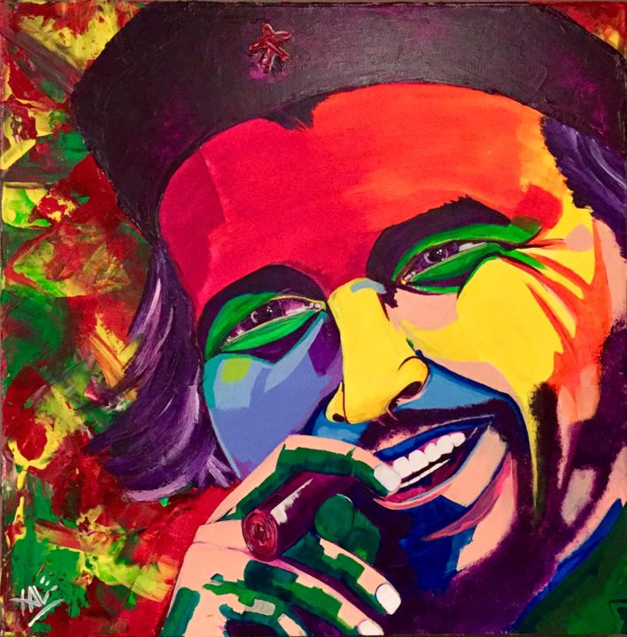 El Che - Painting,  15.8x15.8x2 in, ©2016 by Xale -                                                                                                                                                                                                                                                                                                                                                          Expressionism, expressionism-591, Colors, Pop Culture / celebrity, World Culture, Celebrity, History