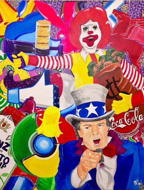 I Want You! - Painting,  45.7x35x0.8 in, ©2017 by Xale -                                                                                                                                                                                                                                                                                                                                                          Expressionism, expressionism-591, Performing Arts, Comics, Colors, Culture, Pop Culture / celebrity