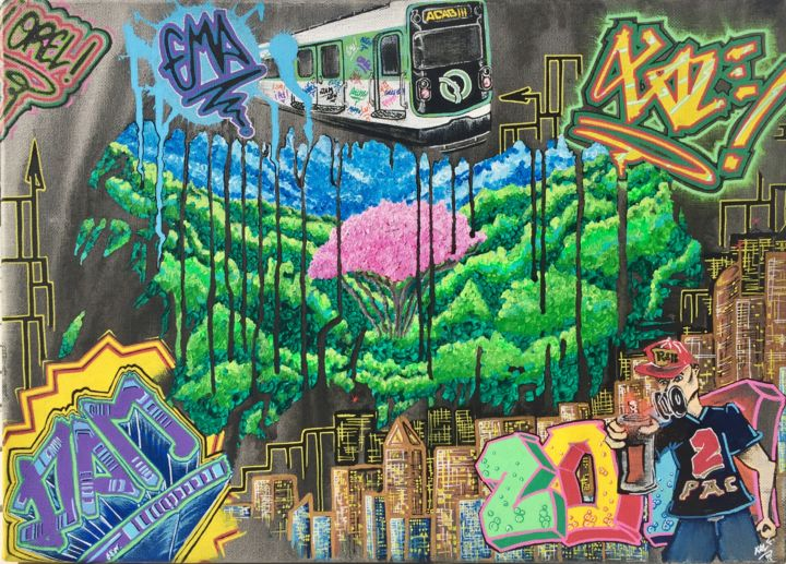 Pink Tree - ©  ratp, metro, acab, graff, 2 pac, rose, pink, black, noir, hip-hop, rap, vert, green, xale, ville, city Online Artworks