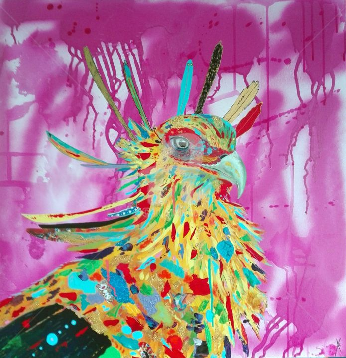 Serpentaire - Painting,  70x70x3 cm ©2019 by Xc -                                            Abstract Art, Animals, animaux, rapace, afrique, serpentaire