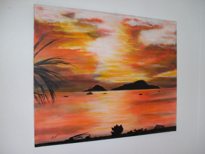 coucher de soleil peinture acrylique xavier de lacaze. Black Bedroom Furniture Sets. Home Design Ideas