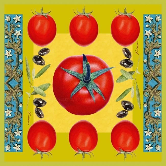 Provence - Mixed Media,  91x91 cm ©2009 by Xian présente les ABSTRA_XIAN -            tomate tomatoes rouge red olive black noir vert chartreuse green jaune yellow