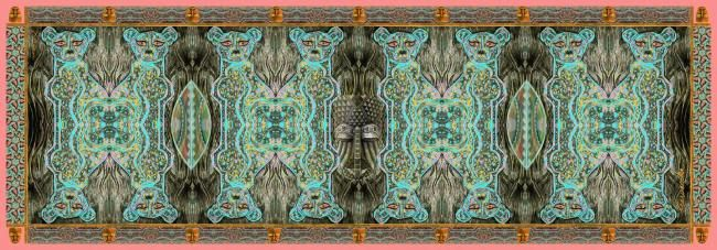LeopART (African-Tribal Style) - Mixed Media,  180x61 cm ©2010 by Xian présente les ABSTRA_XIAN -            naif art art naif grey gris ochre ocre orange brique brick portugal african africain tribal turquoise green  mask masque orange mauve  black noir beige brown brun blue bleu  green vert yellow jaune  impressioniste imprssionist hijab arabe rectagular