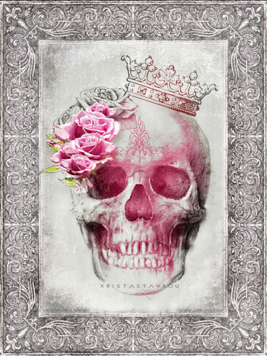 """Digital Arts titled """"Skull Queen with Ro…"""" by Xristastavrou, Original Art, Digital Painting"""