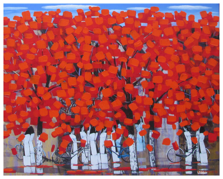 """Painting titled """"After school 19"""" by Xuan Khanh Nguyen, Original Art, Acrylic"""