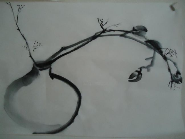 vase et branche - Painting ©2012 by Xuyang Chu -