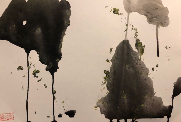 Zen and Fluid Ink - Painting,  10.4x15 in, ©2018 by Yaang -                                                                                                                                                                                                                                                                                                                                                                                                                                                                                                                                                                                                                                      Abstract, abstract-570, Abstract Art, Chinese ink art, abstract ink art, contemporary ink art, modern ink art, zen, fluid art, mixed media art, acrylic painting, oriental aesthetics, oriental philosophy