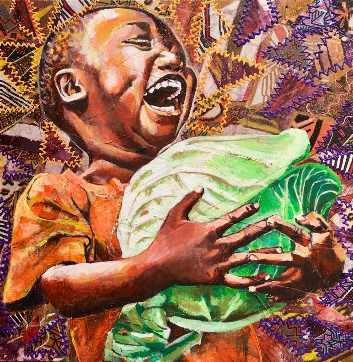 Choux ! - Painting,  19.7x19.7x1.6 in, ©2016 by Yaël Moon -                                                                                                                                                                                                                                                                                                                                                                                                                                                                                                                                              Figurative, figurative-594, Wood, Fabric, enfant, afrique, rire, joie, choux, pagne, tissus