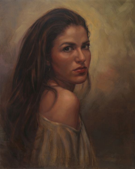 """Painting titled """"Portrait of A Woman"""" by Yair Shoshani, Original Art, Oil"""