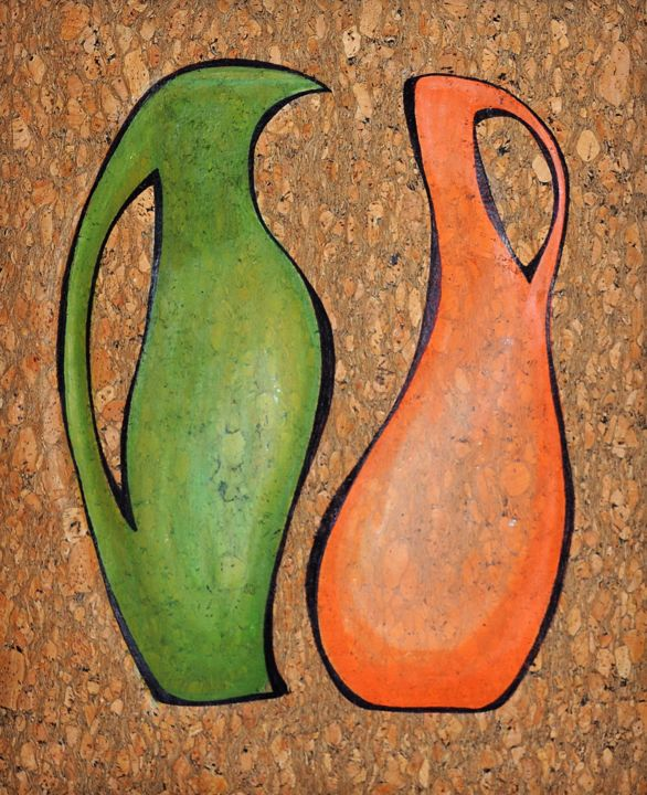 Dancing  jugs - Painting,  20.9x15x0.2 in ©2019 by Svitlana Yatsenko -                                                                                                                                Abstract Art, Abstract Expressionism, Figurative Art, Minimalism, Abstract Art, Health & Beauty, Food & Drink, Colors, Humor, dancing jugs, jugs, corkwood, emotional, contour, green, Orange, still life, multi-colored, acrylic, abstract, fantasy, move