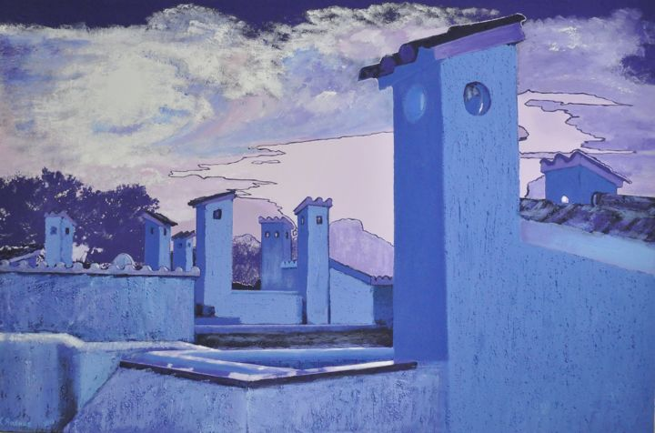 The roofs of Sant Elm - Painting,  31.5x47.2x1.6 in ©2018 by Svitlana Yatsenko -                                                                                                                                Figurative Art, Modernism, Trompe-l'œil, Contemporary painting, Architecture, Cities, Cityscape, Home, Places, Sant Elm, roofs, painting, landscape, blu, architecture, houses, textured, sky, urban