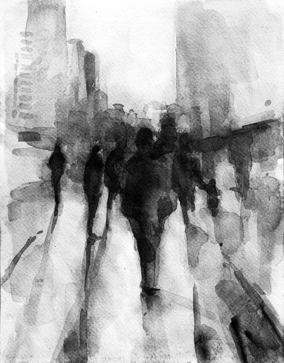 City - Painting,  11.8x7.9x0.4 in, ©2016 by Lily Yakupova -                                                                                                                                                                                                                                                                                                                                                                                                                                                                                                                                                                                                                                                                                                                                                                                                                      Abstract, abstract-570, People, watercolour, bnw, bw, black and white, picture, graphics, people, person, illustrathion, shadows, city, urban, artwork, figures