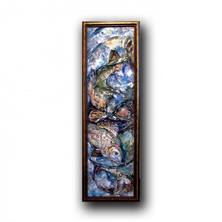 """Painting titled """"Abstract Fish in Bl…"""" by Gallery Yamelievi Yameliev, Original Art,"""