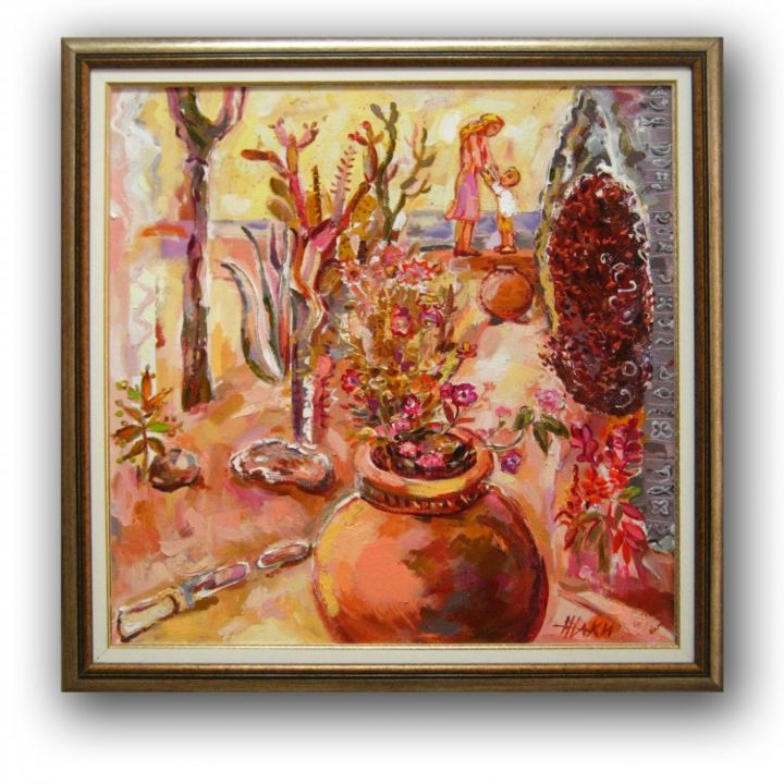 """Painting titled """"Meeting at the Bota…"""" by Gallery Yamelievi Yameliev, Original Art,"""