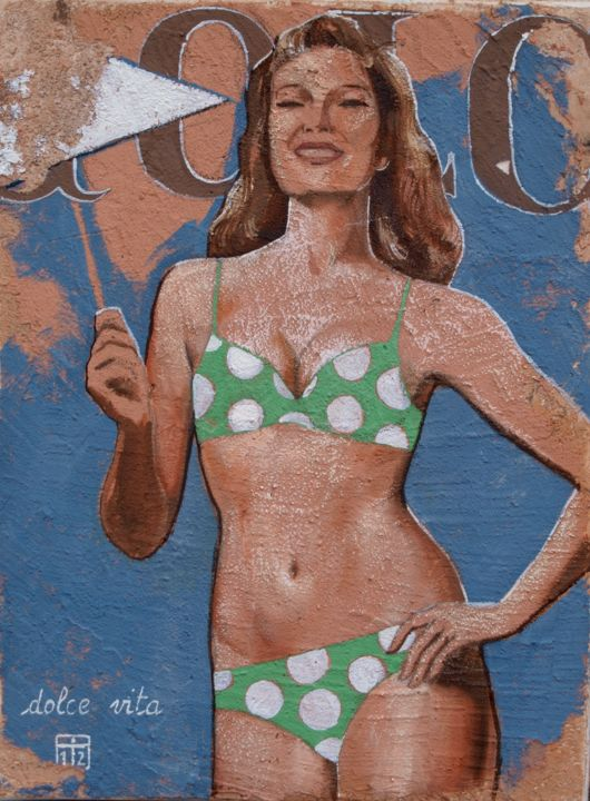 Dolce Vita - Painting,  15.8x11.8x0.8 in, ©2012 by Yan Vita -                                                                                                                                                                                                                      Pop Art, pop-art-615, Women, Beach