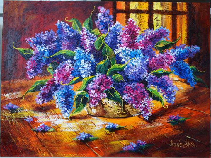 lilac - Painting,  30x40x2 in, ©2018 by Yana Rafael -                                                                                                                                                                                                                          Impressionism, impressionism-603, Flower, flowers. lilac