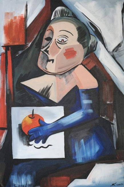 """Painting titled """"The girl with the p…"""" by Yana Kuzinets, Original Art,"""