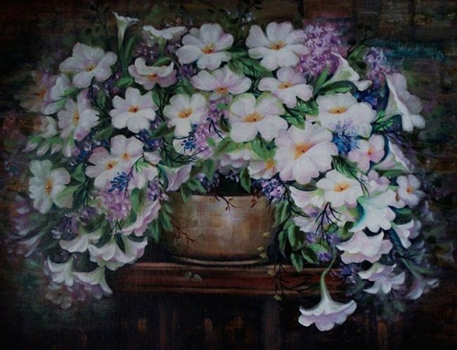flower - Painting,  80x70 cm ©2012 by 凤岭 -            flower(花)