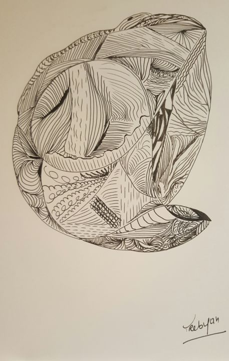 Gymnopedie graphique 7 - Drawing,  11.8x7.9 in, ©2017 by Anouk Bert (Trebyan) -