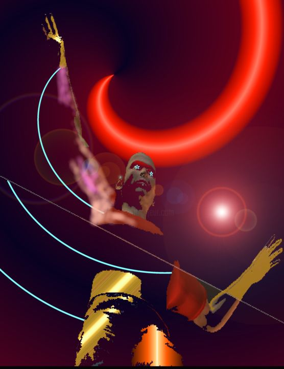 Star Elder - Painting,  14x11 in ©2013 by Yaounde Olu -                            Contemporary painting, Digital Paintings, Yaounde Olu, Joyce Bowen, Afro-futurism